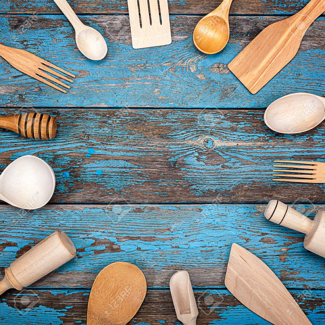 Set Kitchen Utensils On A Wooden Background. Accessories For.. Stock ...