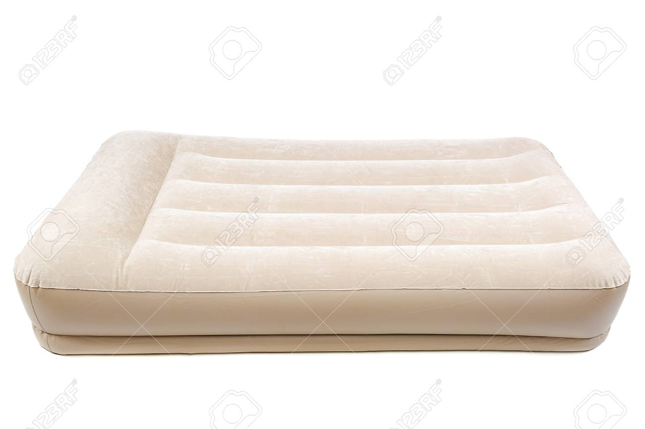 Air Mattress With Electric Pump For Rest And Sleep Isolated On