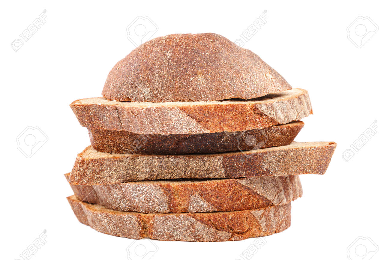 Rye and wheat bread loaf isolated on white background. - 157708085