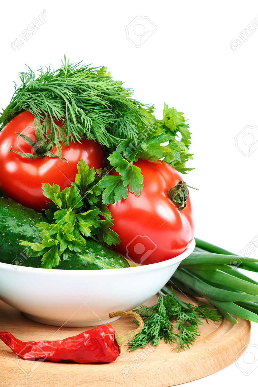 Fresh vegetables isolated on a white background. - 156194027