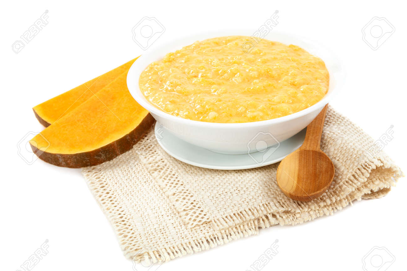 Pumpkin porridge isolated on white background. Healthy eating. - 157708614