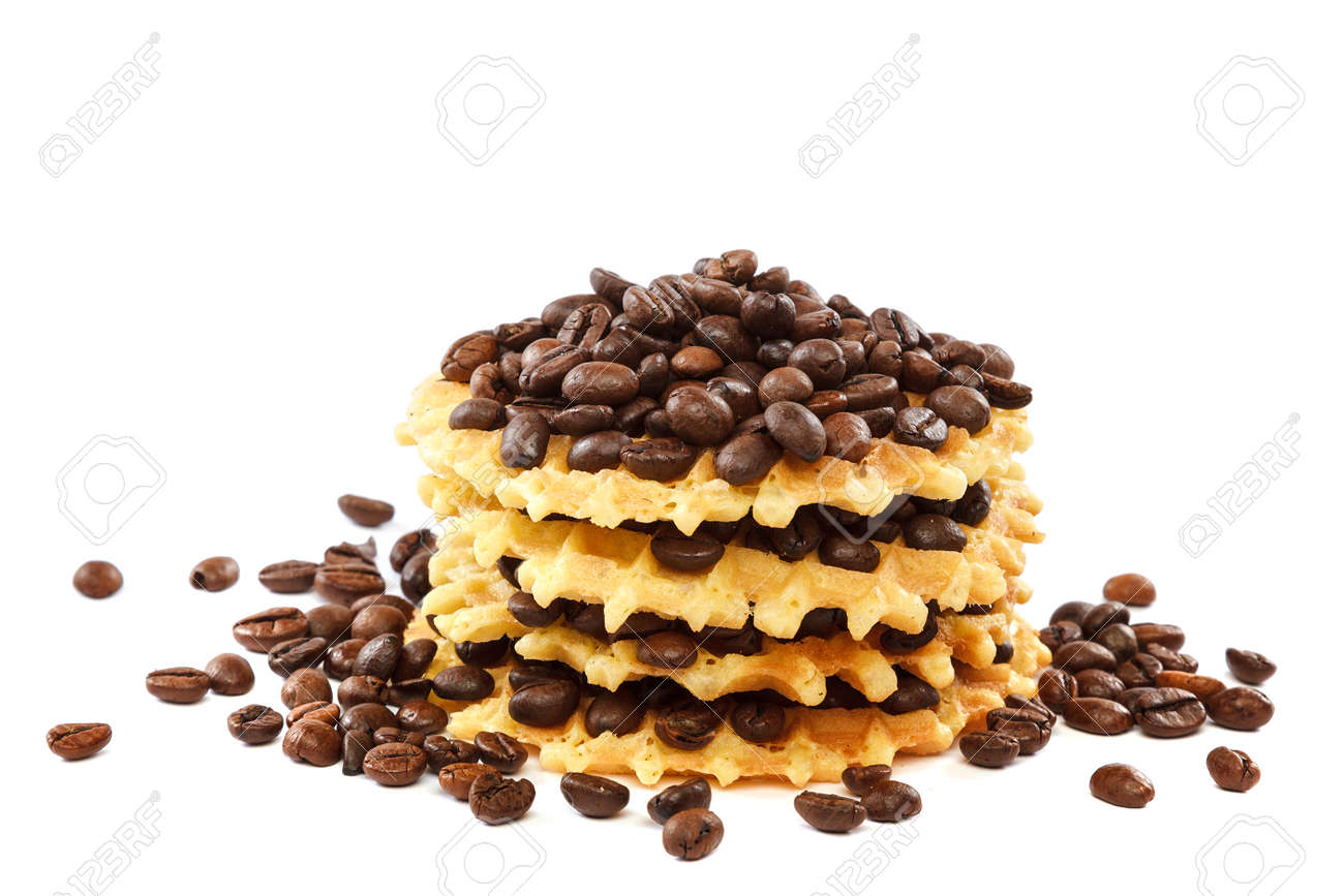 Waffle cookies and coffee grains isolated on a white background. - 157708618
