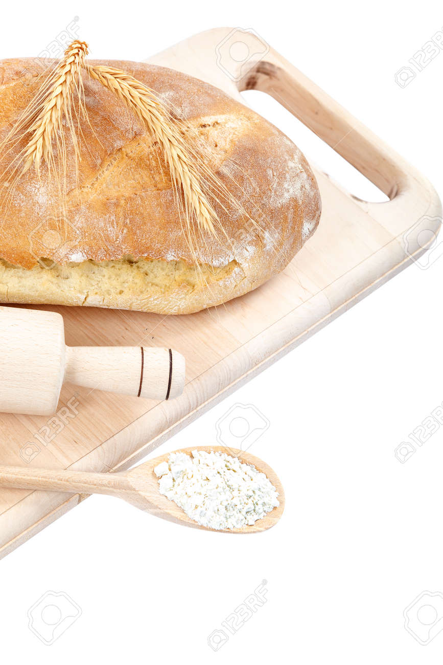 Loaf of rye bread isolated on white background. - 157708621