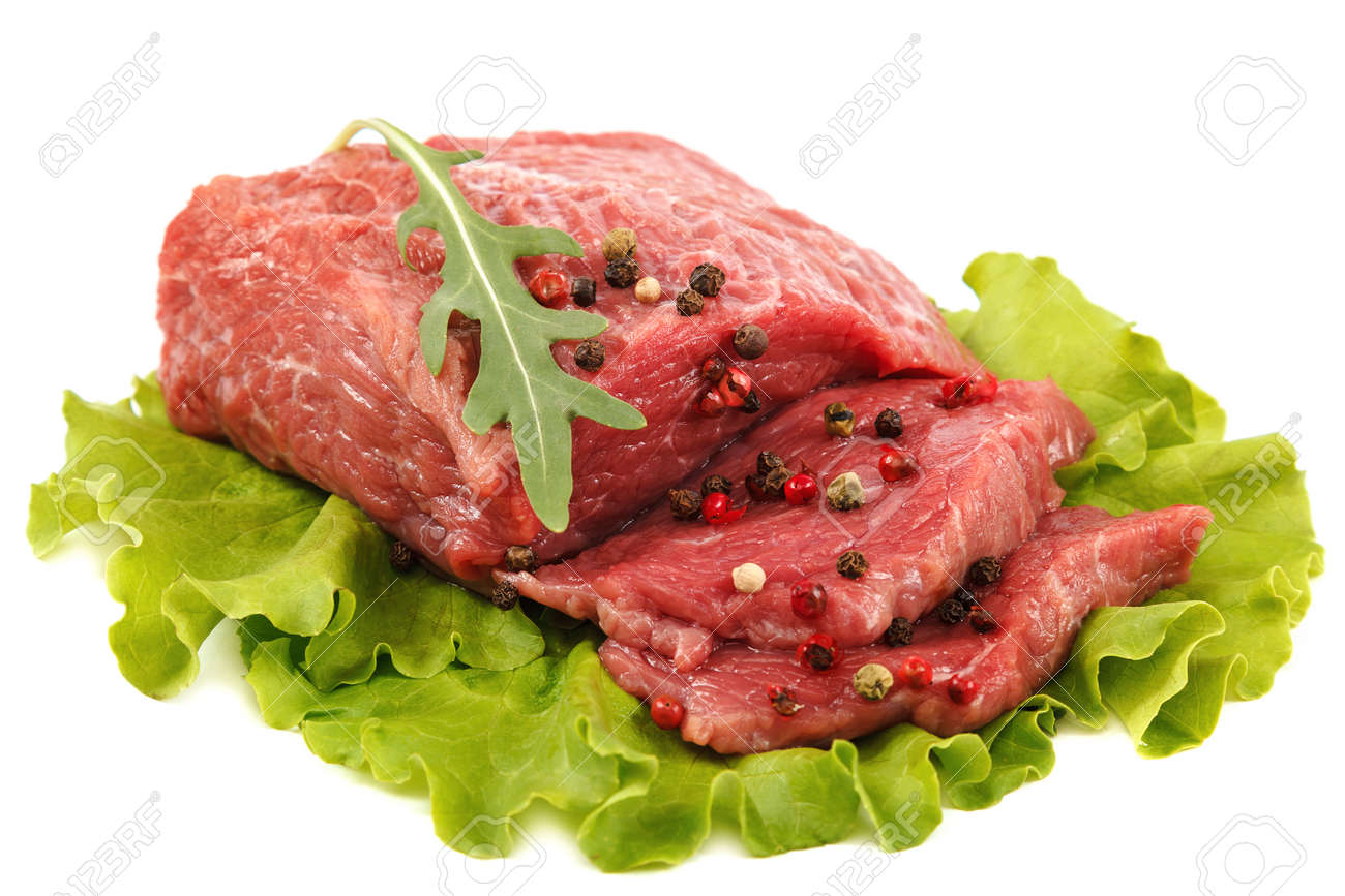 Meat fresh isolated on a white background. - 156194033