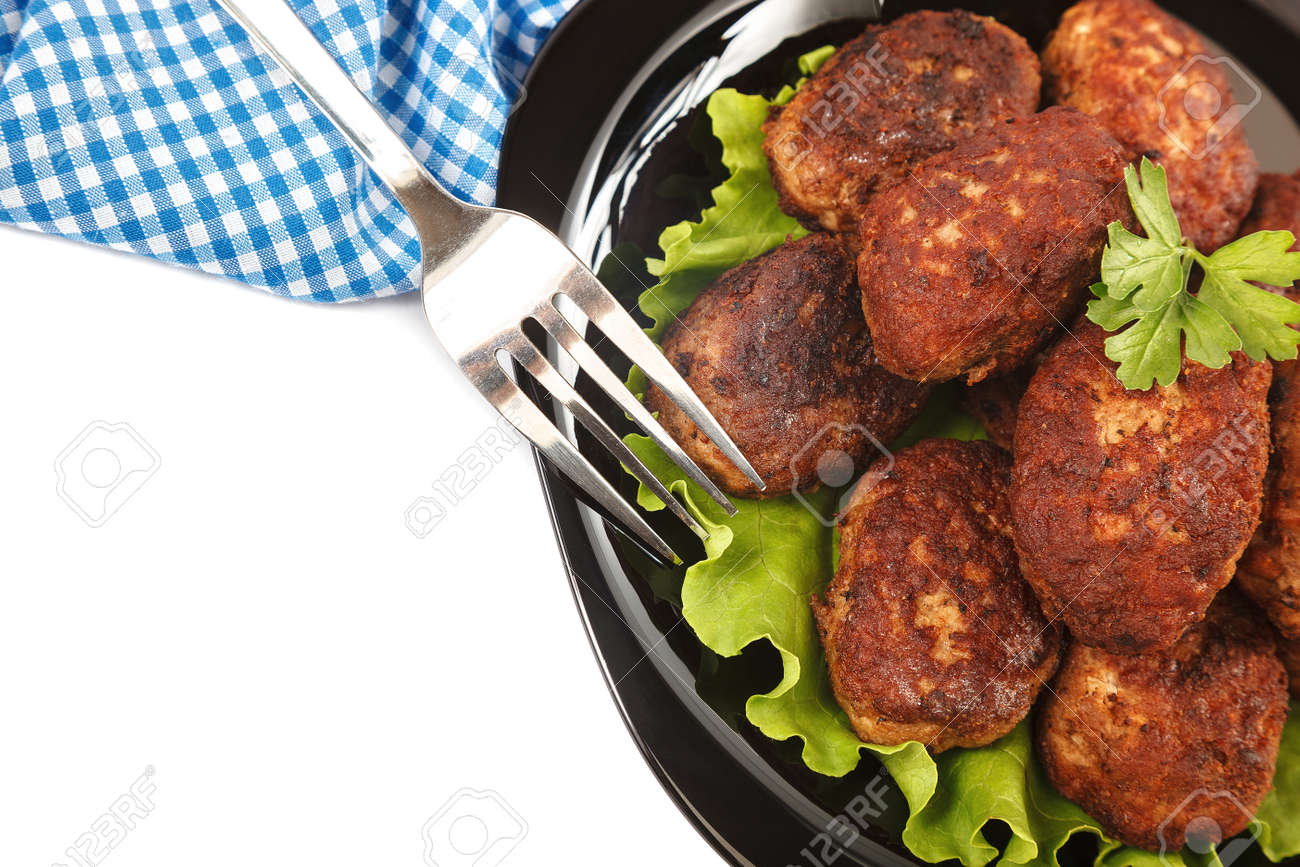 Meat patties isolated on a white background. - 157708946