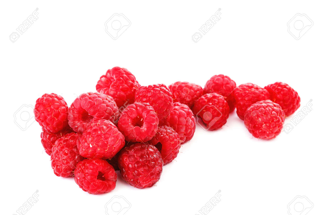 Fresh raspberry fruit isolated on a white background. - 157708965