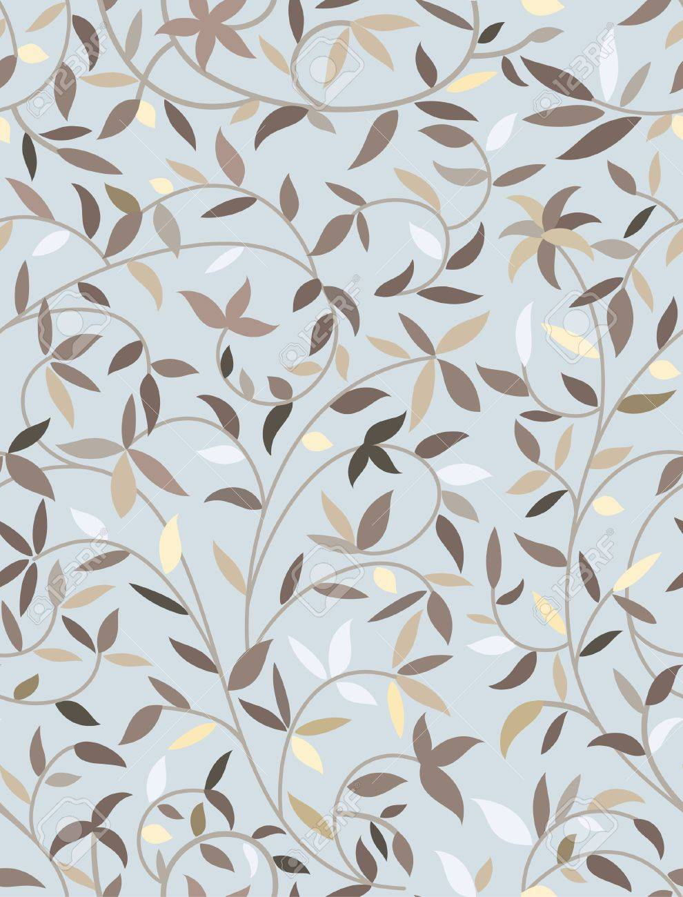 Vector seamless blue pattern with leaves Stock Vector - 17438414