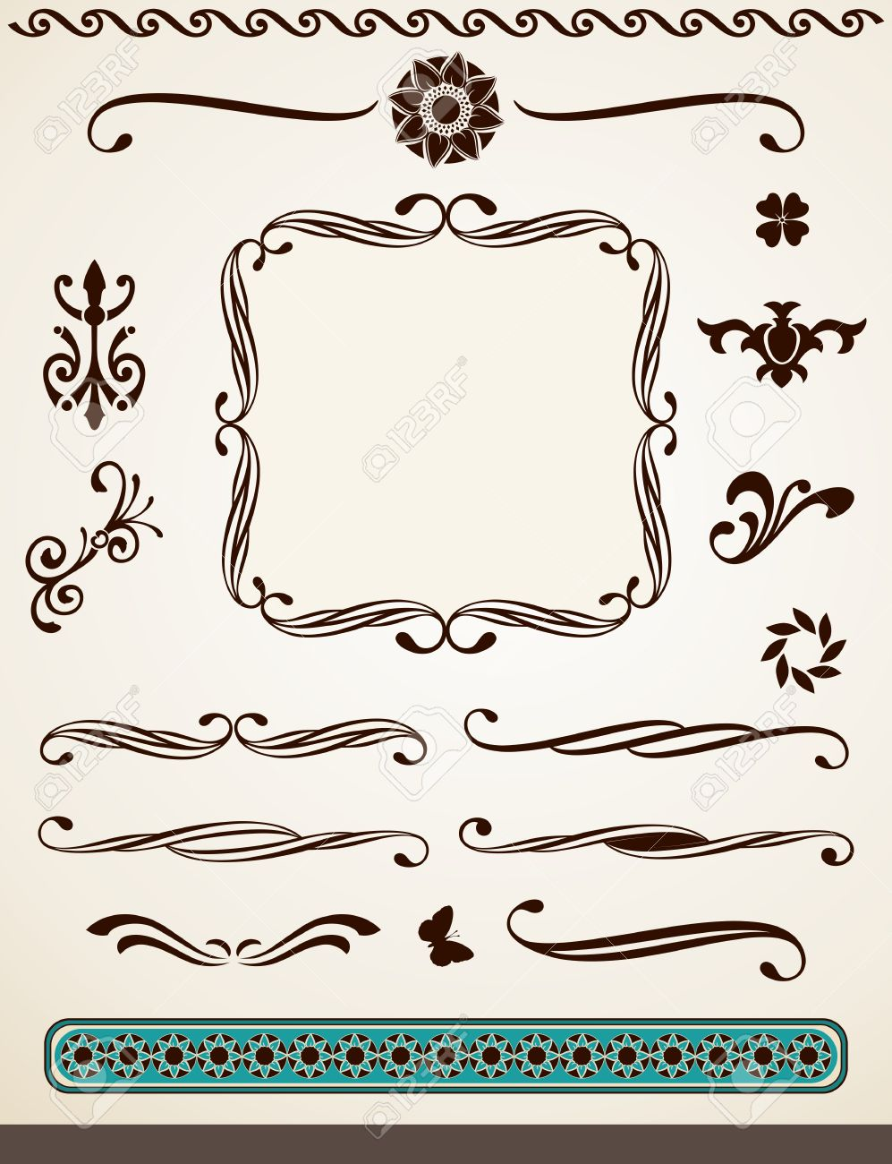 Vintage Page Decorations, Dividers, Borders And Text Frame Royalty ...