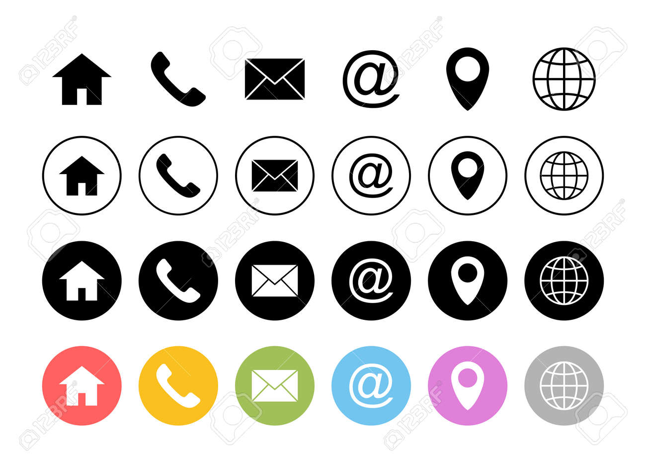 Web icon set. Business card contact information icons. Contact us icon set - 167190238