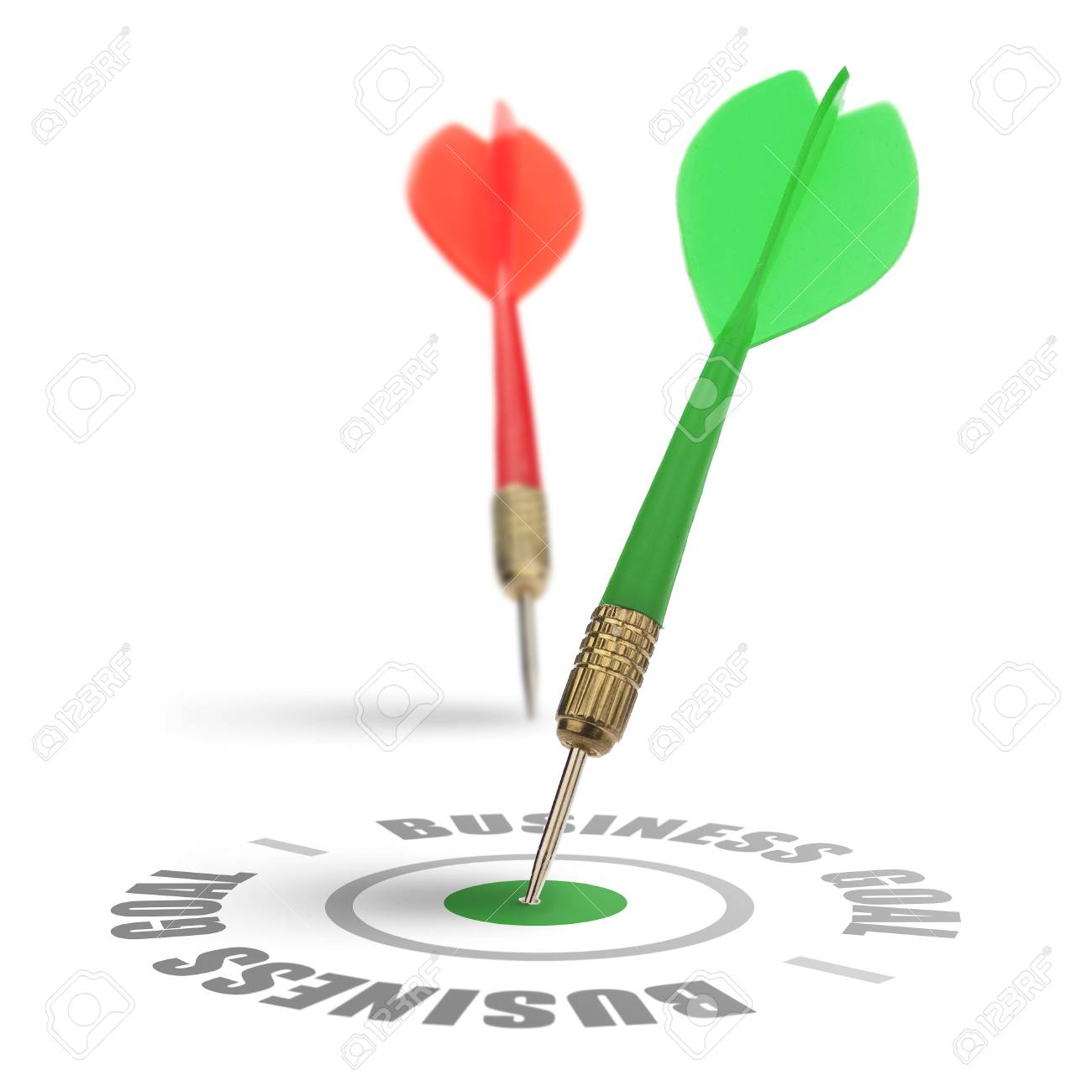 two darts on a white background, concept for success and reach a target, one dart reach it's target Stock Photo - 5452999