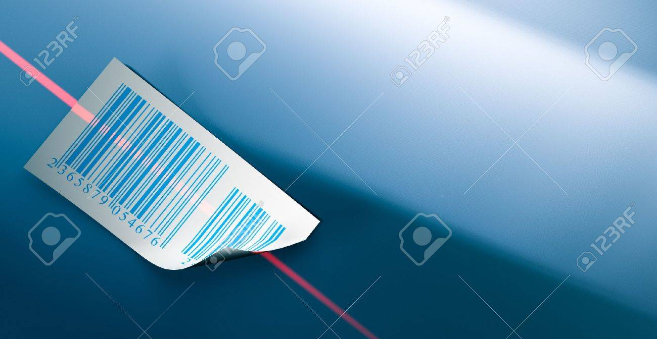 barcodes stickers and laser beam over a dark blue background Stock Photo - 7716371