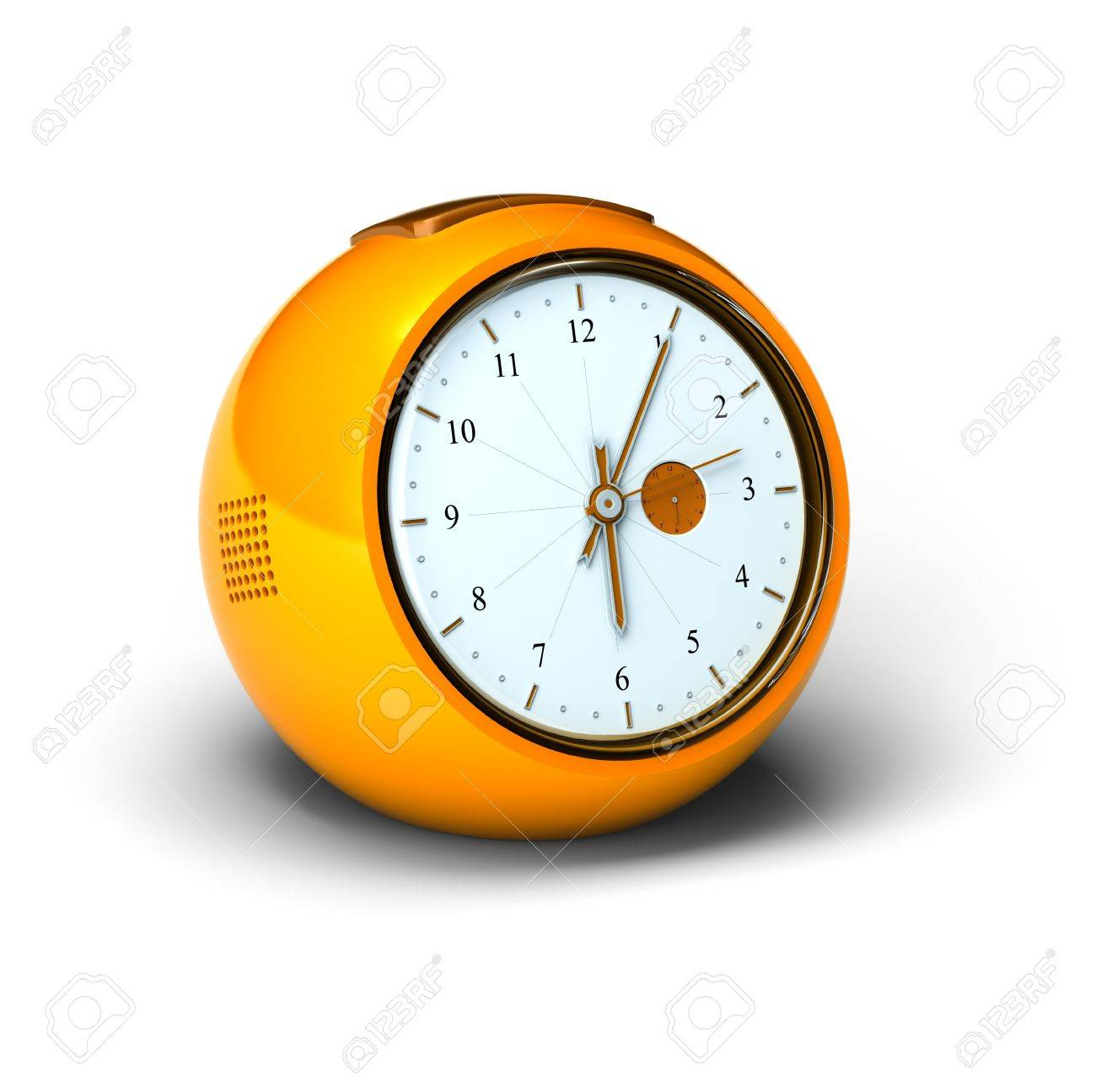 orange vintage alarm clock over a white background stock photo