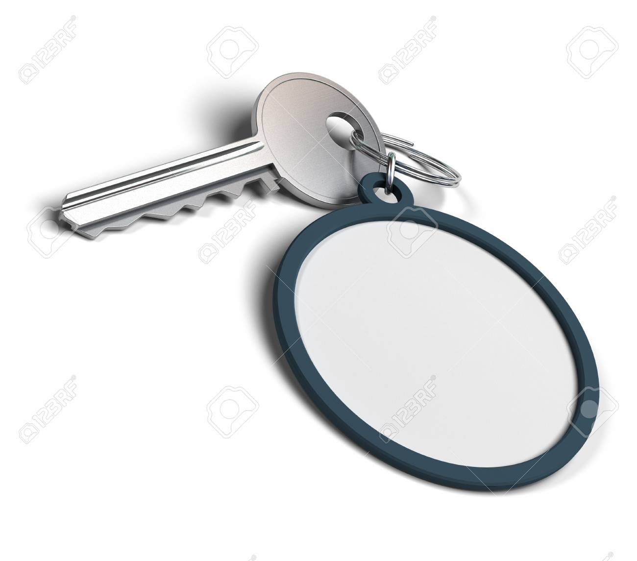 keyring over a white background with copy space for message or communication Stock Photo - 8804157