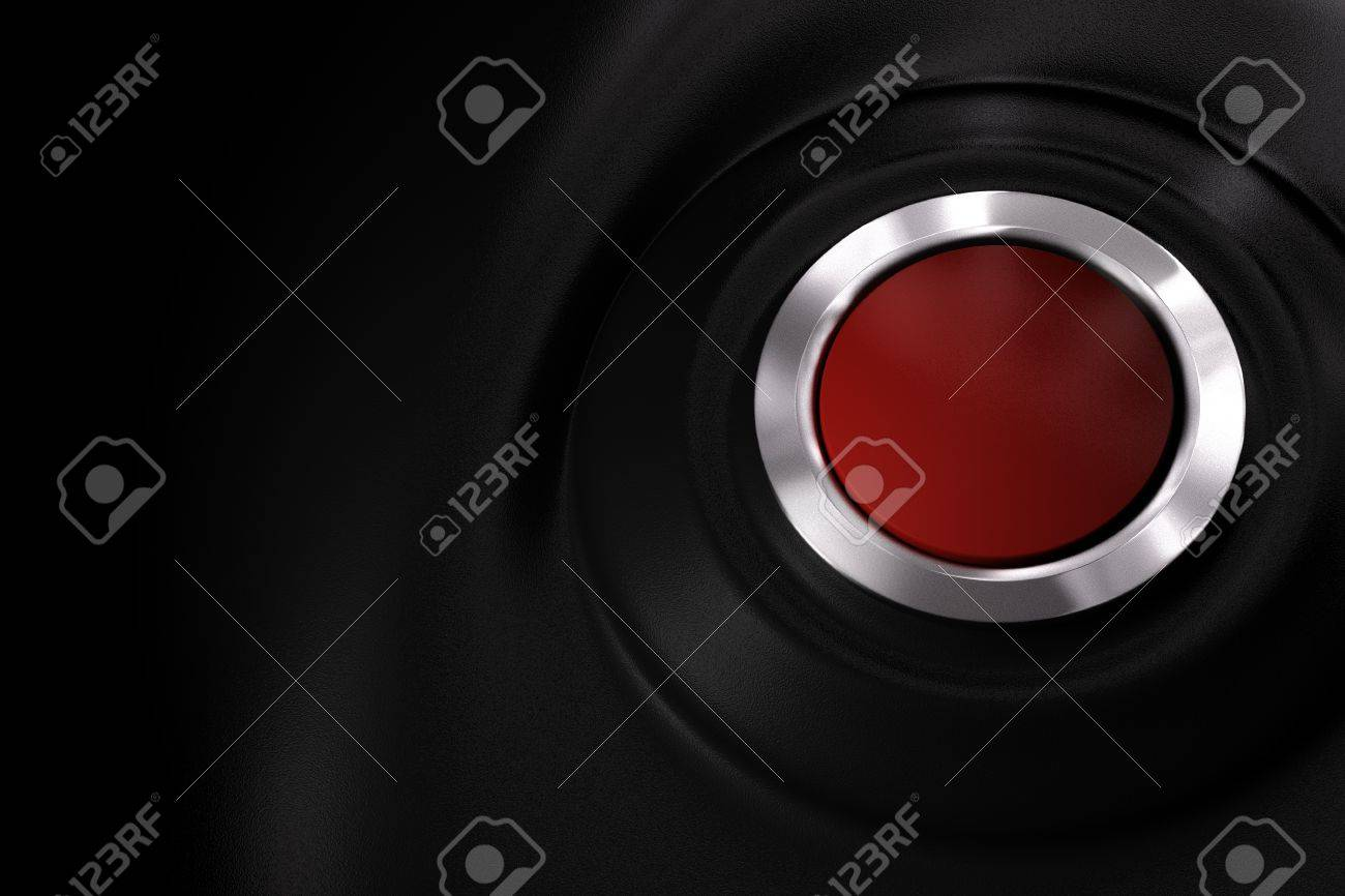customizable red power button over a black plastic background with copy space Stock Photo - 9793424