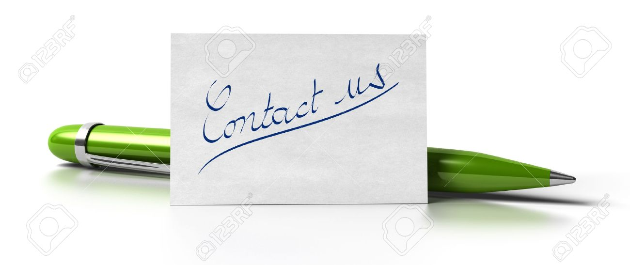 word contact us handwritten on a business card with a green pen at the background image is over a white background Stock Photo - 9793455