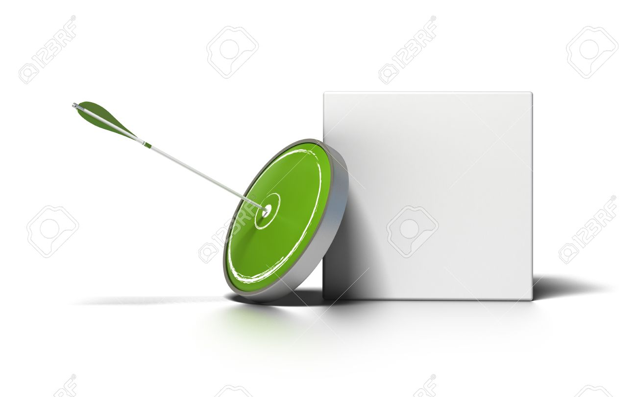 green target and arrow near a white box for writing a message image is over a white background Stock Photo - 9899704