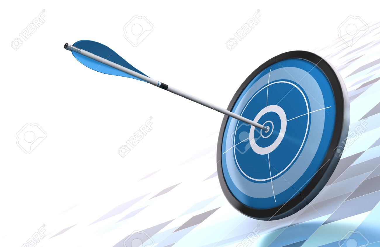 blue target and arrow over a modern background image is placed on the bottom right side Stock Photo - 10501900