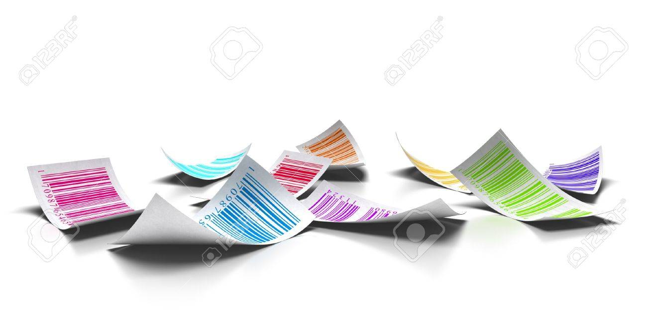 multicolored bar codes over a white background Stock Photo - 10711170
