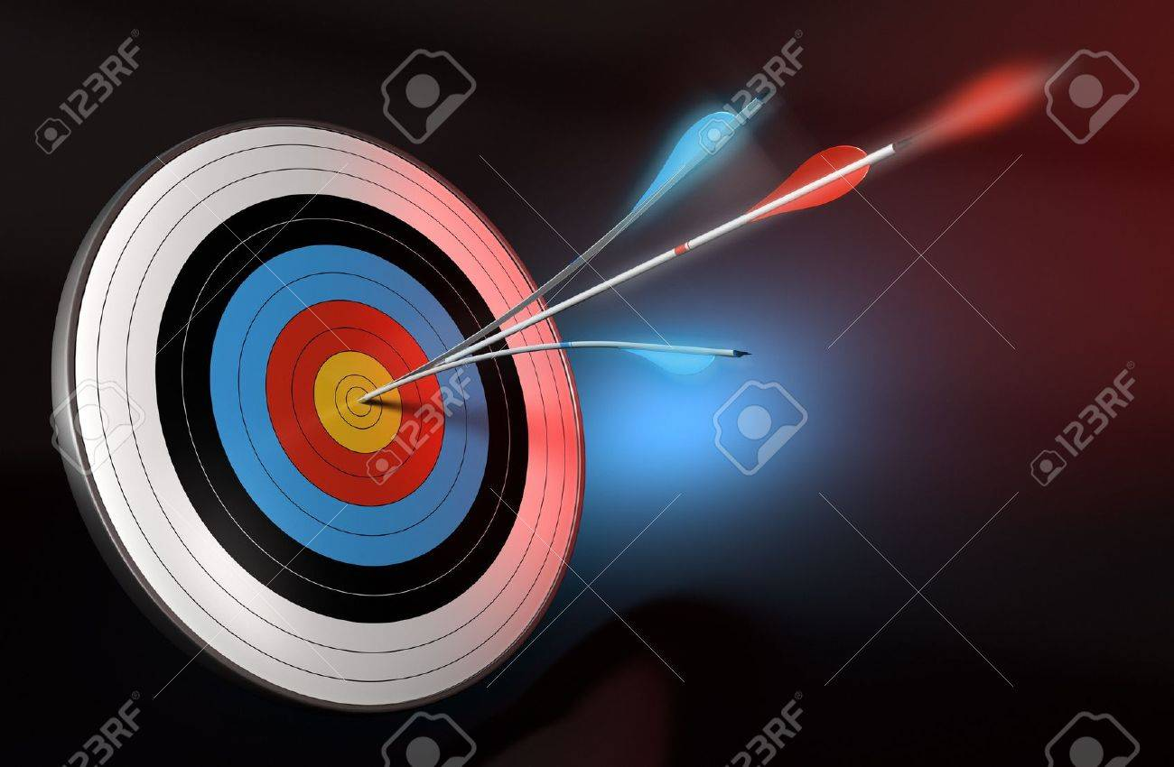 one blue arrow splitted with a red arrow hitting the center of a target, 3d render over black, blue and red background Stock Photo - 11234462