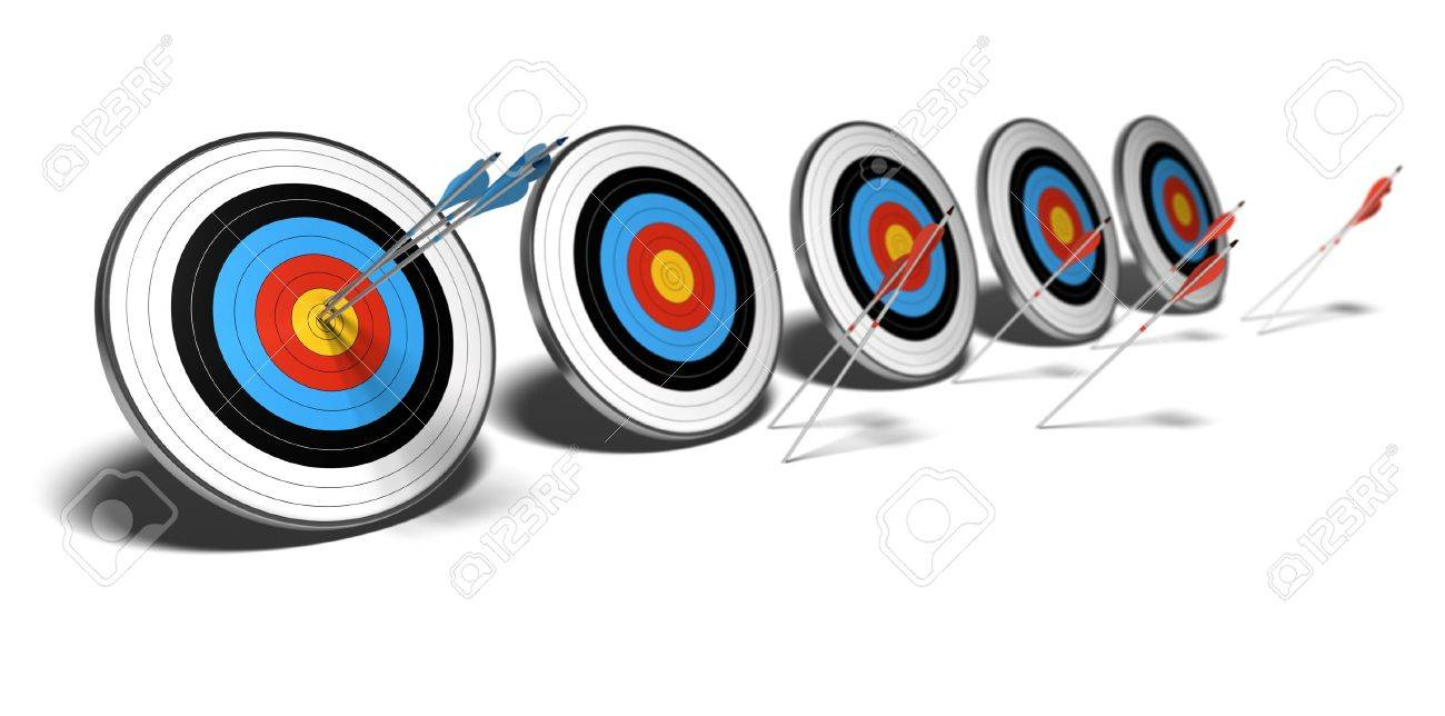 many targets over a white background with shadow. The first set of blue arrows hit the center of the first target, The red arrows failed to reach their objectives. - 11324692