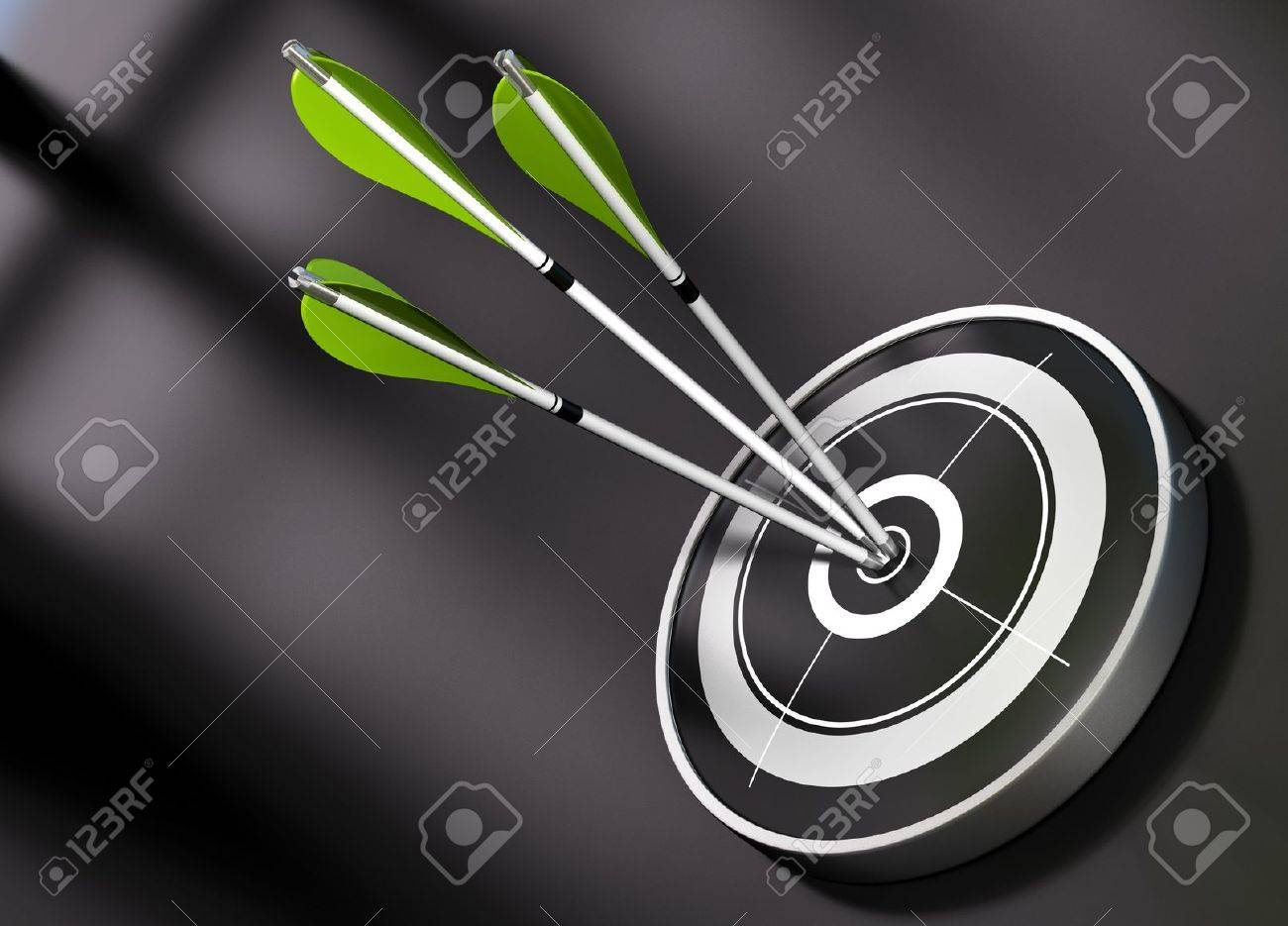 3 gren arrows hitting the center of a black target, concept of partnership over a black background Stock Photo - 11633686