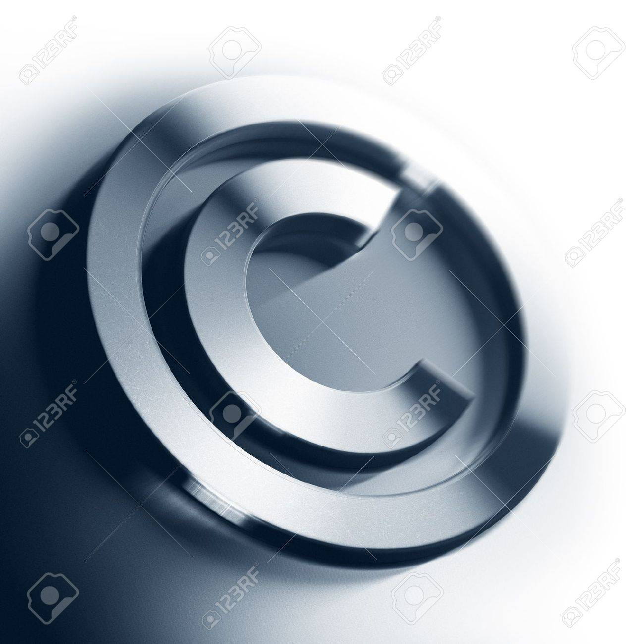 metal copyright symbol onto a white background square image with blur, border of a page Stock Photo - 11633692