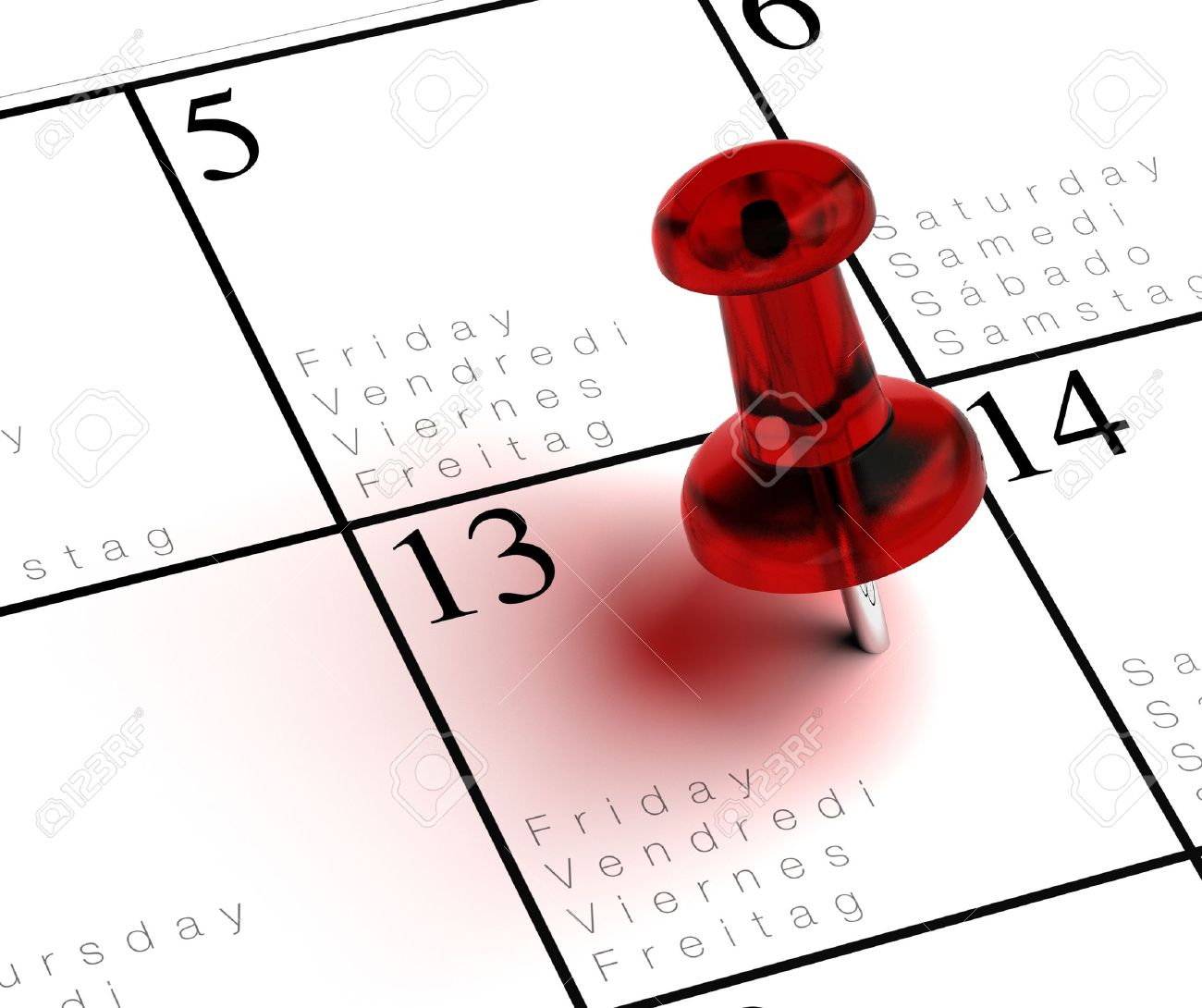 friday the 13th written onto a multilingual calendar with a red thumbtack with transparency Stock Photo - 11633688