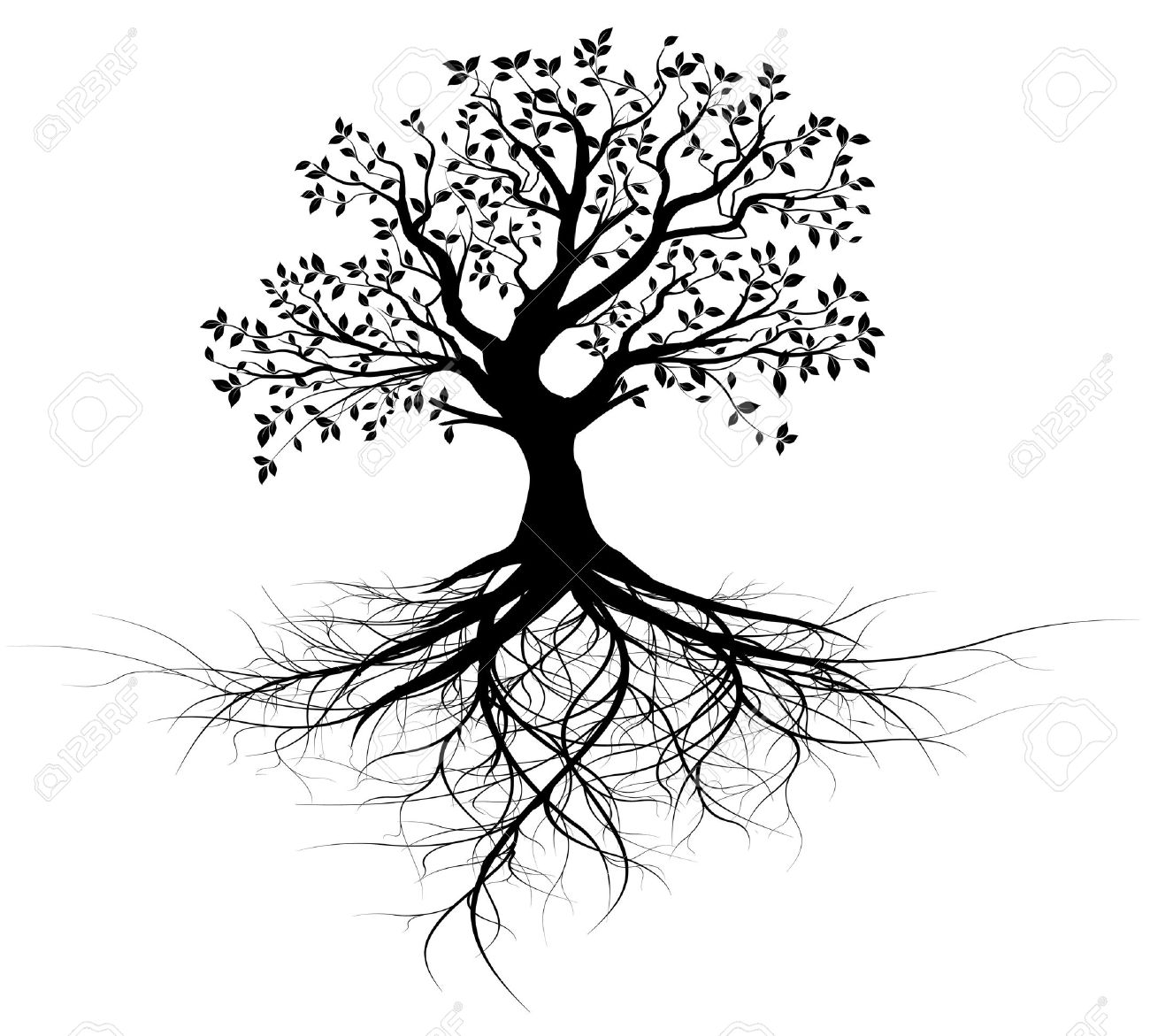 Vector whole black tree with roots isolated white background vector