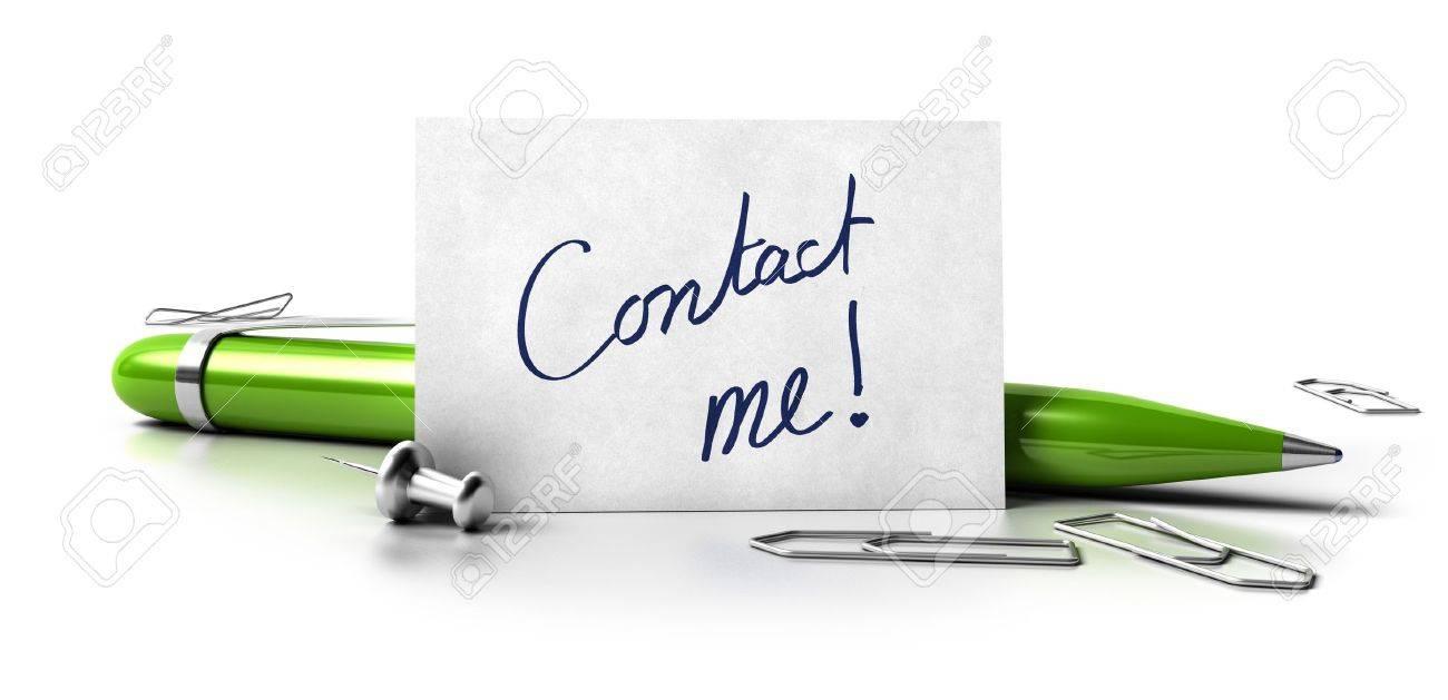 Contactez Moi Manuscrite Sur Une Carte De Visite Blanc Vert Stylo A