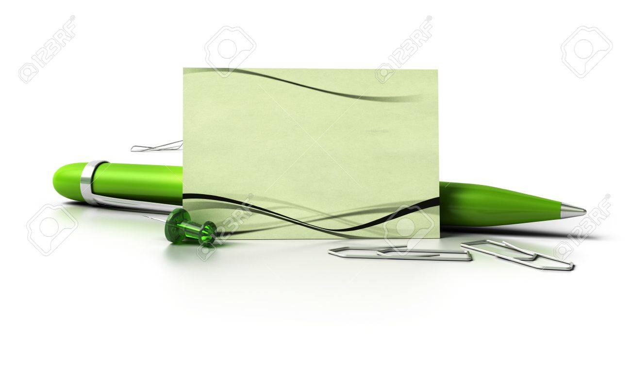 Blank Eco Friendly Business Card With Green Ballpoint Pen ...