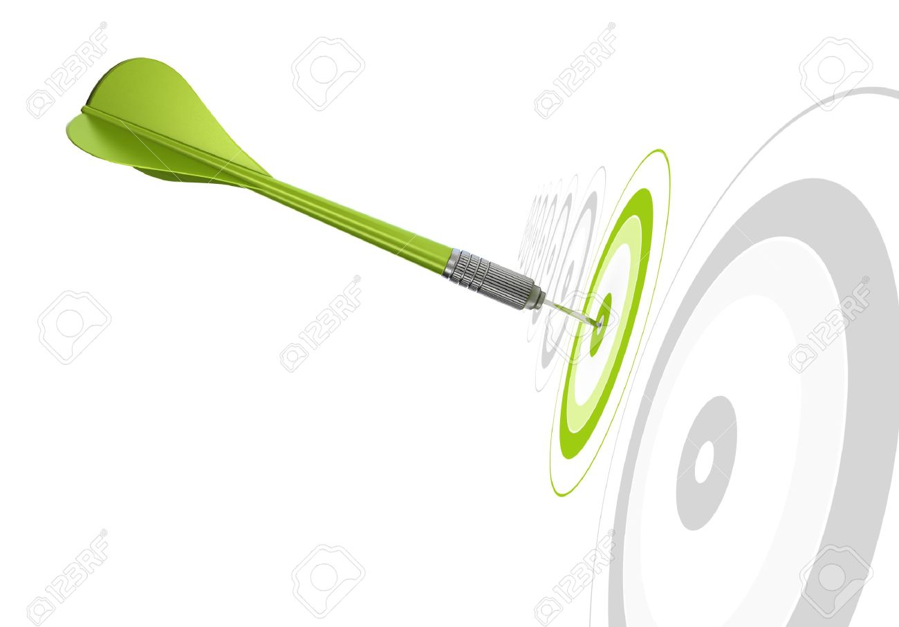 green dart hitting the center of a target, there is othr greys targets in a row, white background Stock Photo - 13168850