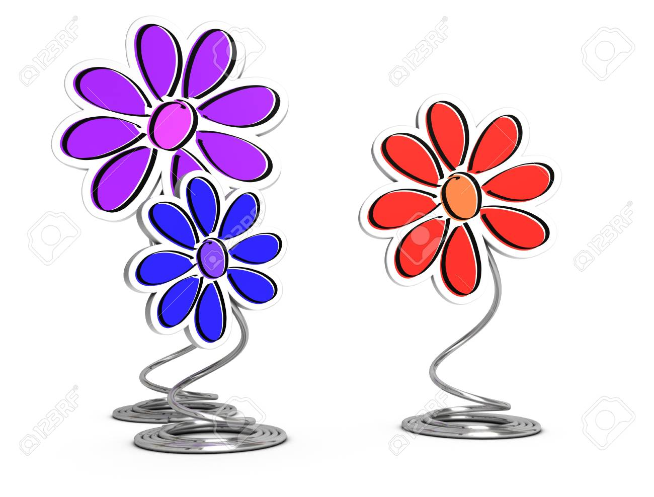 3d render of decorative flowers and wire pedestal over white background, decorative elements Stock Photo - 13530690