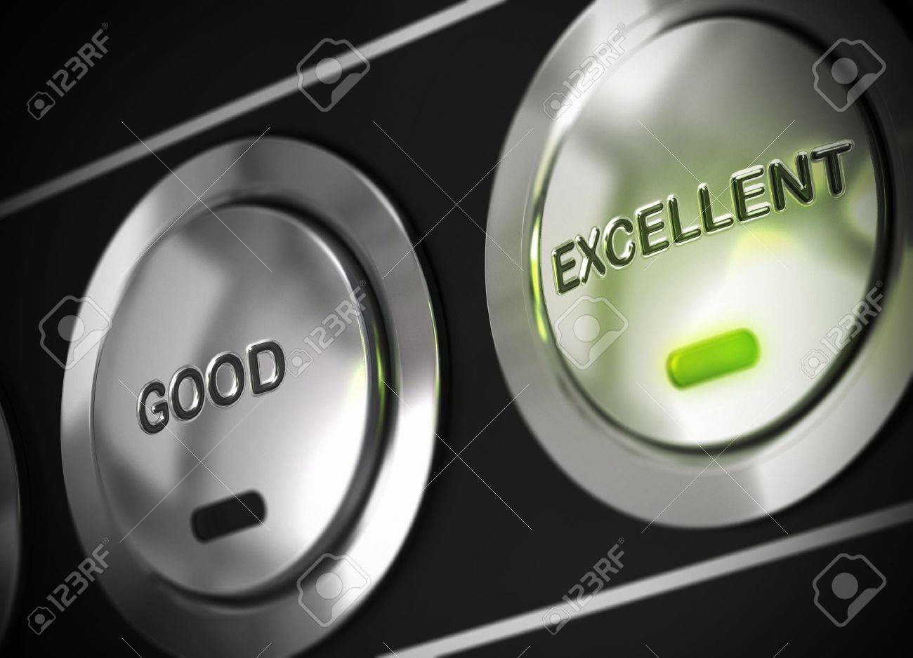 excellent button pressed with light of a green led, there is also a good button viewable, symbol of excellence Stock Photo - 13873840