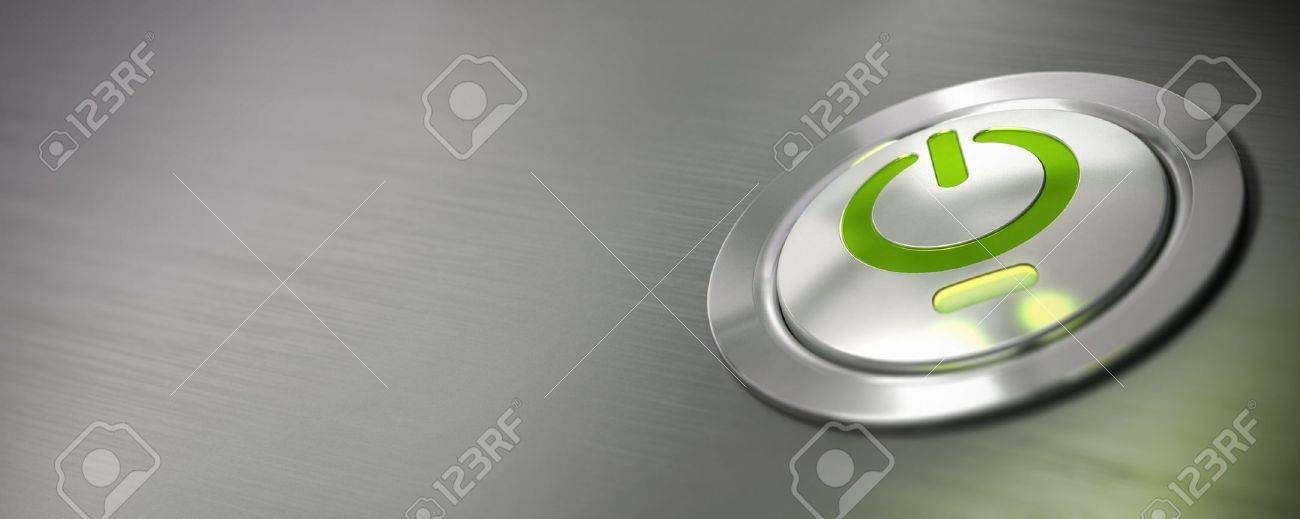 computer power button, pc on off switch with green light and