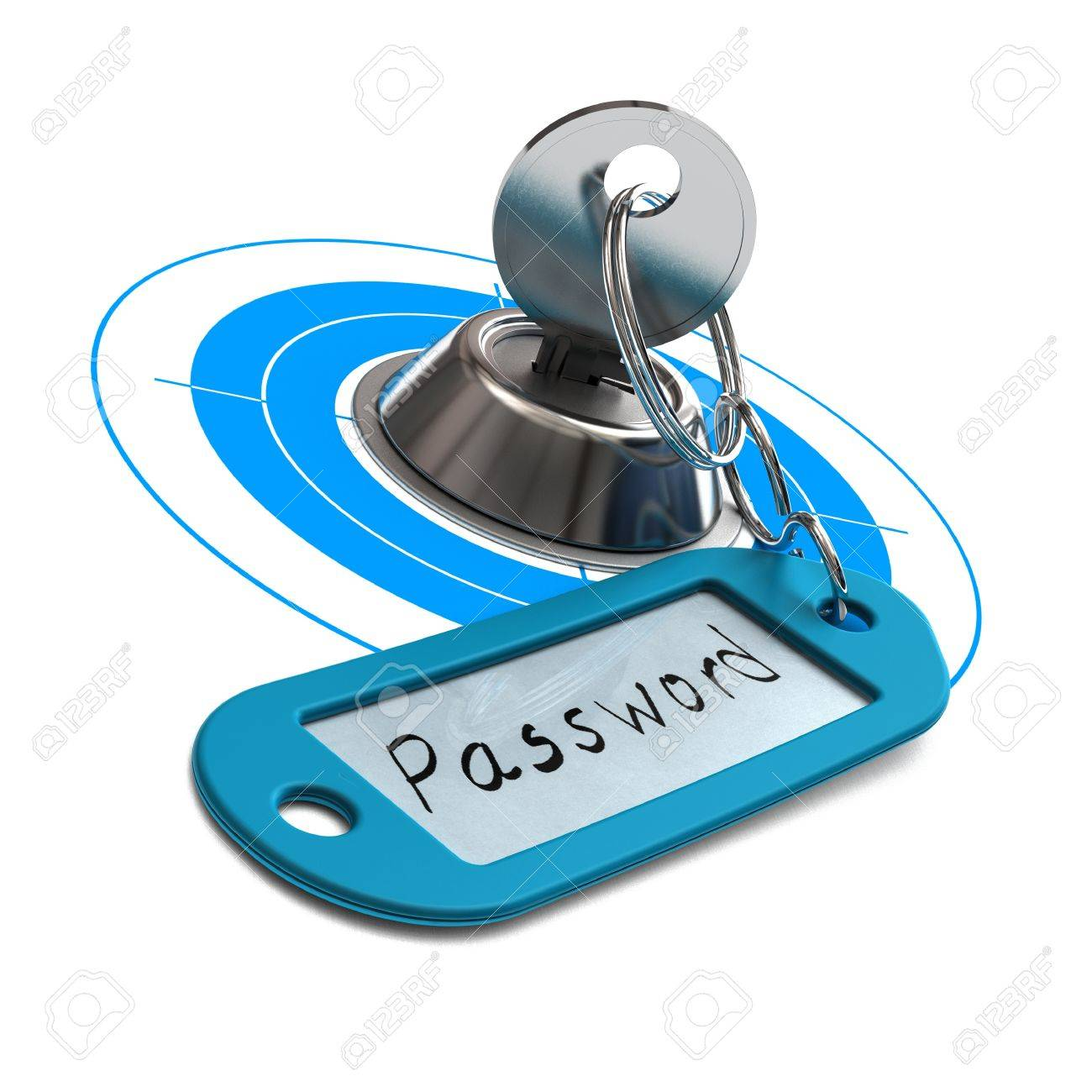 key and blue key ring withe the word password handwritten on a paper, white background, square image, concept for internet security Stock Photo - 15826113