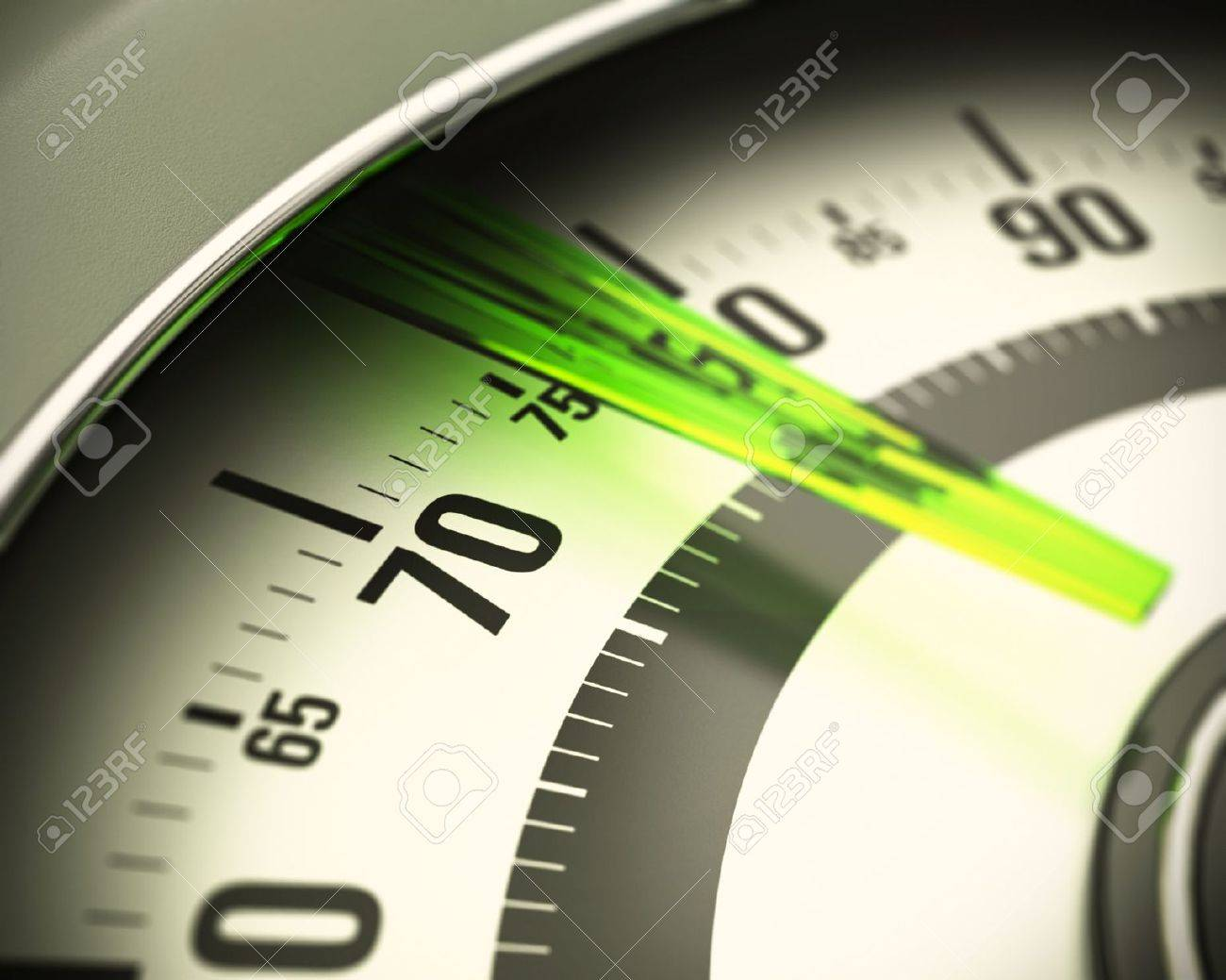 close up on numbers of a bathroom scale with green translucent pin, blur effect Stock Photo - 15900211