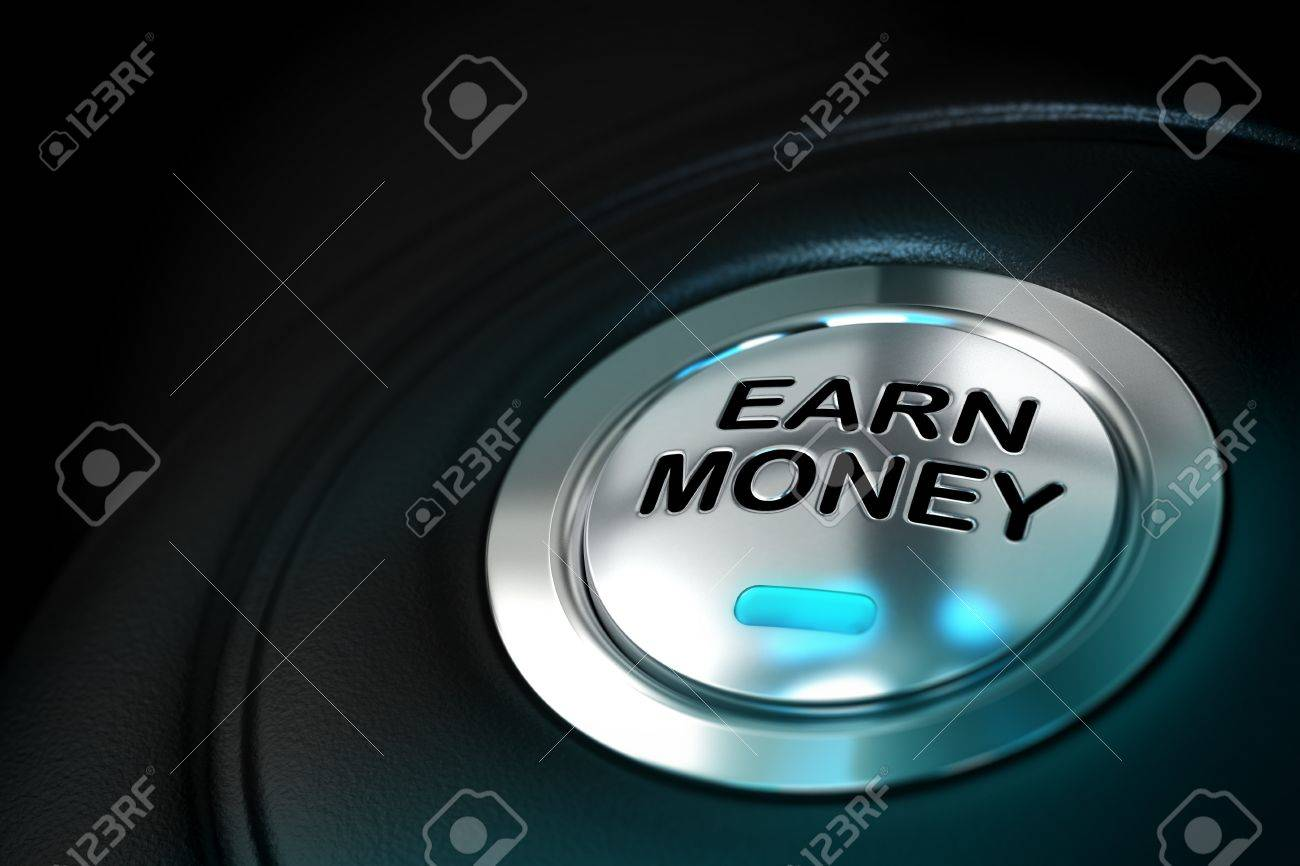 earn money text written onto a metal button over a black background Stock Photo - 16313522