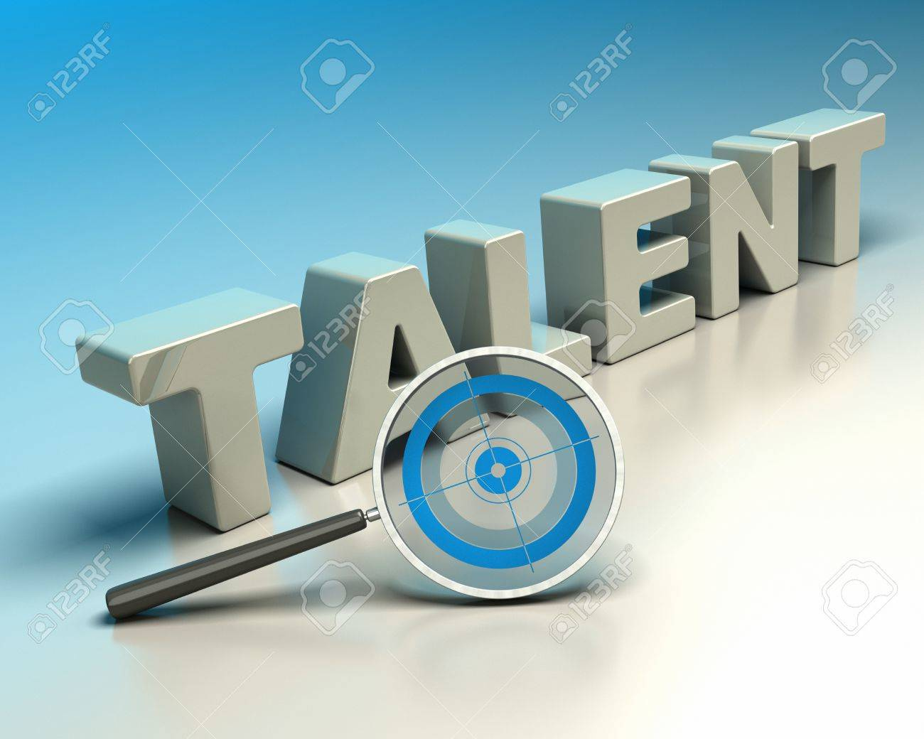 Word talent written with 3d letters onto a blue and beige background with a magnifier including a blue target  symbol of headhunter Stock Photo - 16803472
