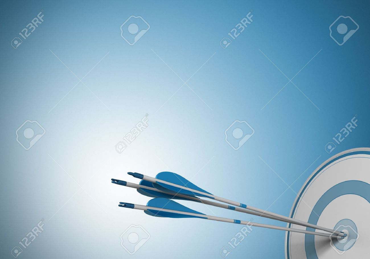 three arrows hitting the center of a target Image over a blue background with free space for text - 17185270