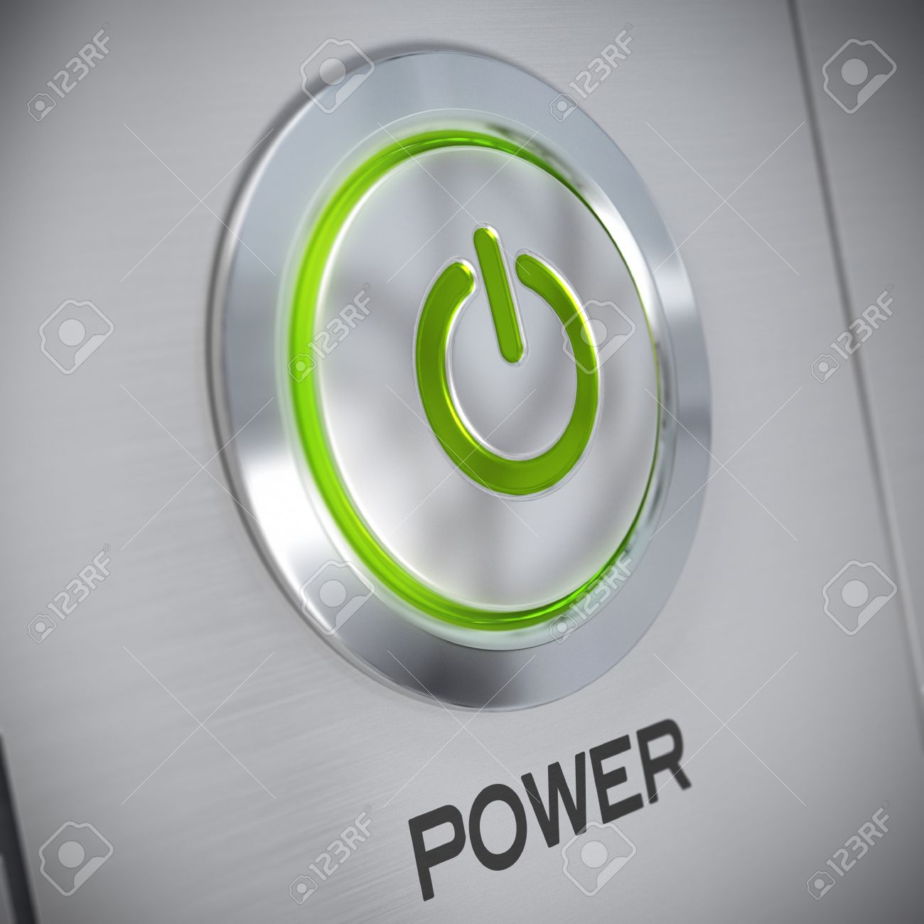 Power button on a brushed aluminum panel with a green light and power button on a brushed aluminum panel with a green light and the symbol of energy biocorpaavc Gallery