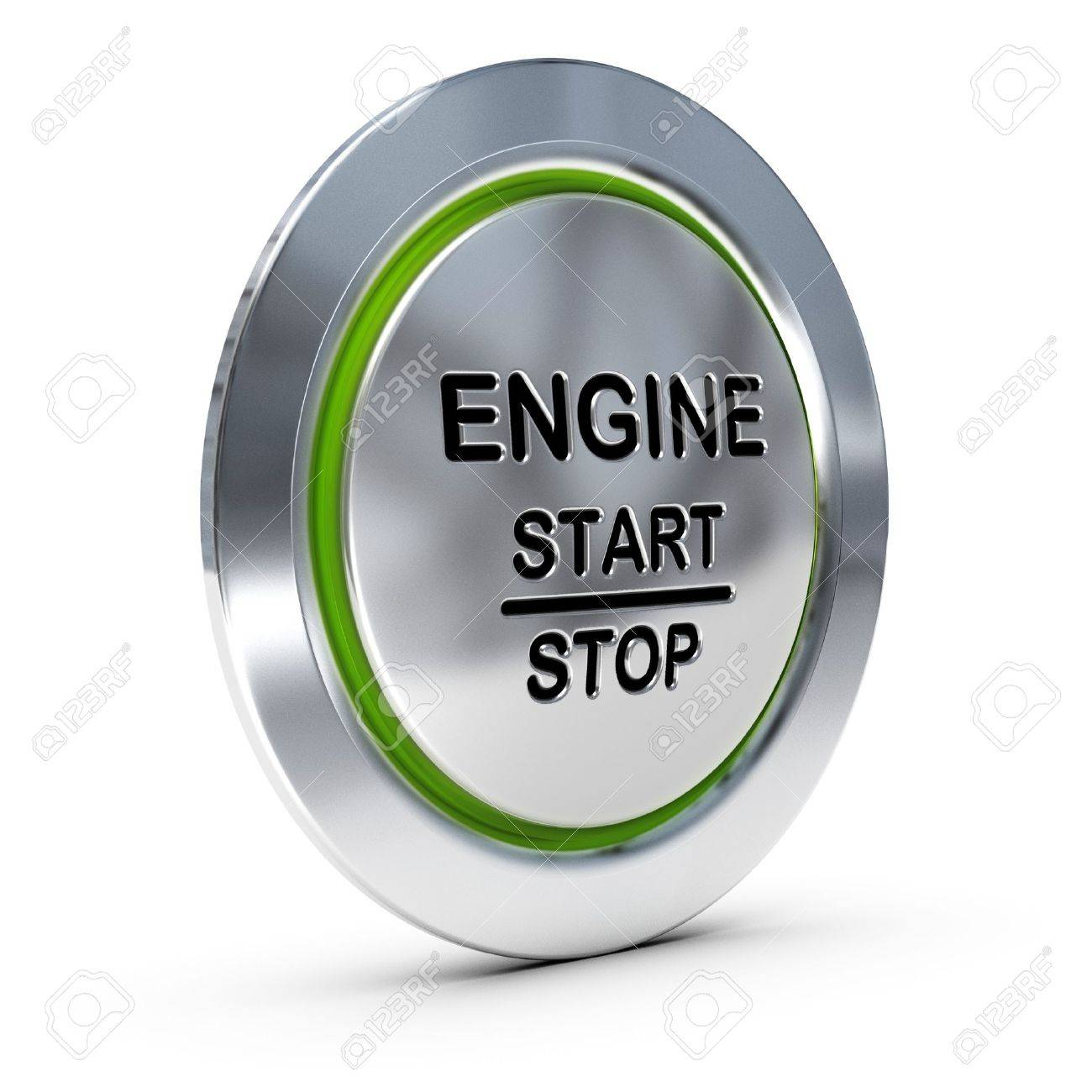 Start And Stop Keyless Ignition Button Over White Background.. Stock ...