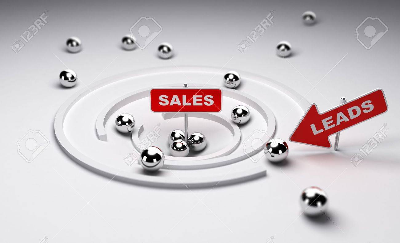 Sales process simplified one arrow with the word leads ans a sign with the word sales, 3d render Stock Photo - 19606055
