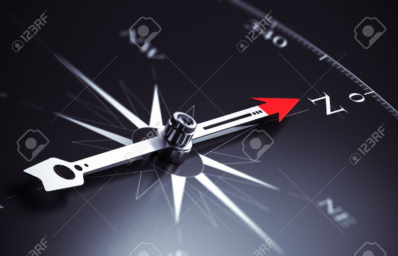 Compass needle pointing to north direction, image suitable for business consulting concept 3D render illustration - 19606109
