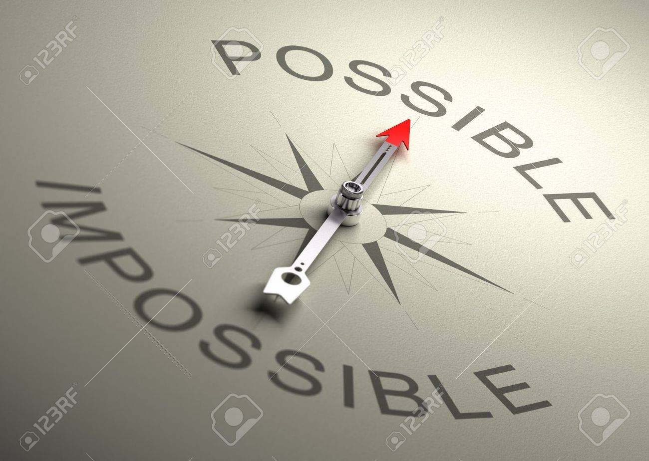 Needle of a compass pointing on the word possible, Realistic 3D render with depth of field, blurr effect on the word impossible - 19798667