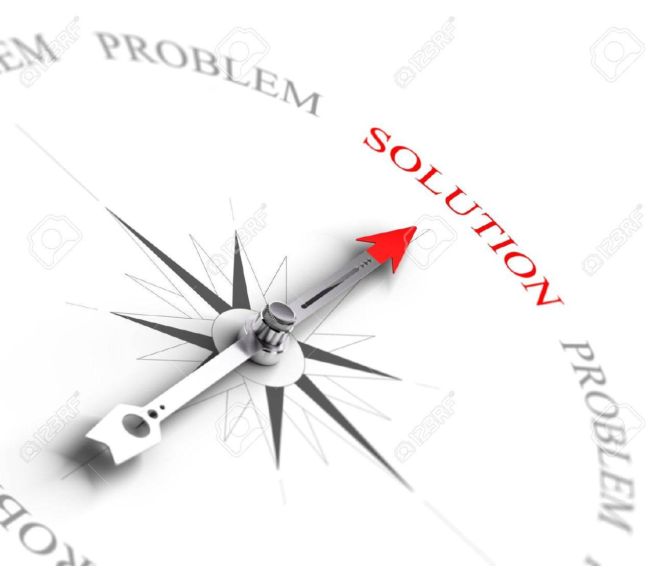 Compass with arrow pointing to the word solution vs problems 3D render image suitable for business consulting concept, 3D render with depth of field effect - 21171251