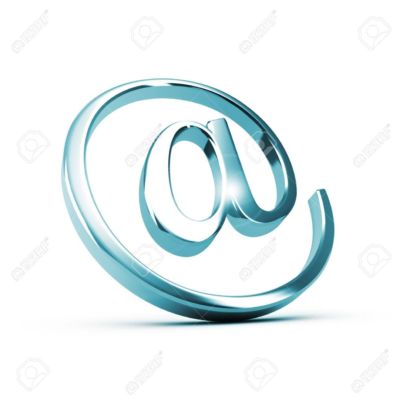 metallic E-mail symbol over white background, blue tone, suitable for contact or address form Stock Photo - 21398015
