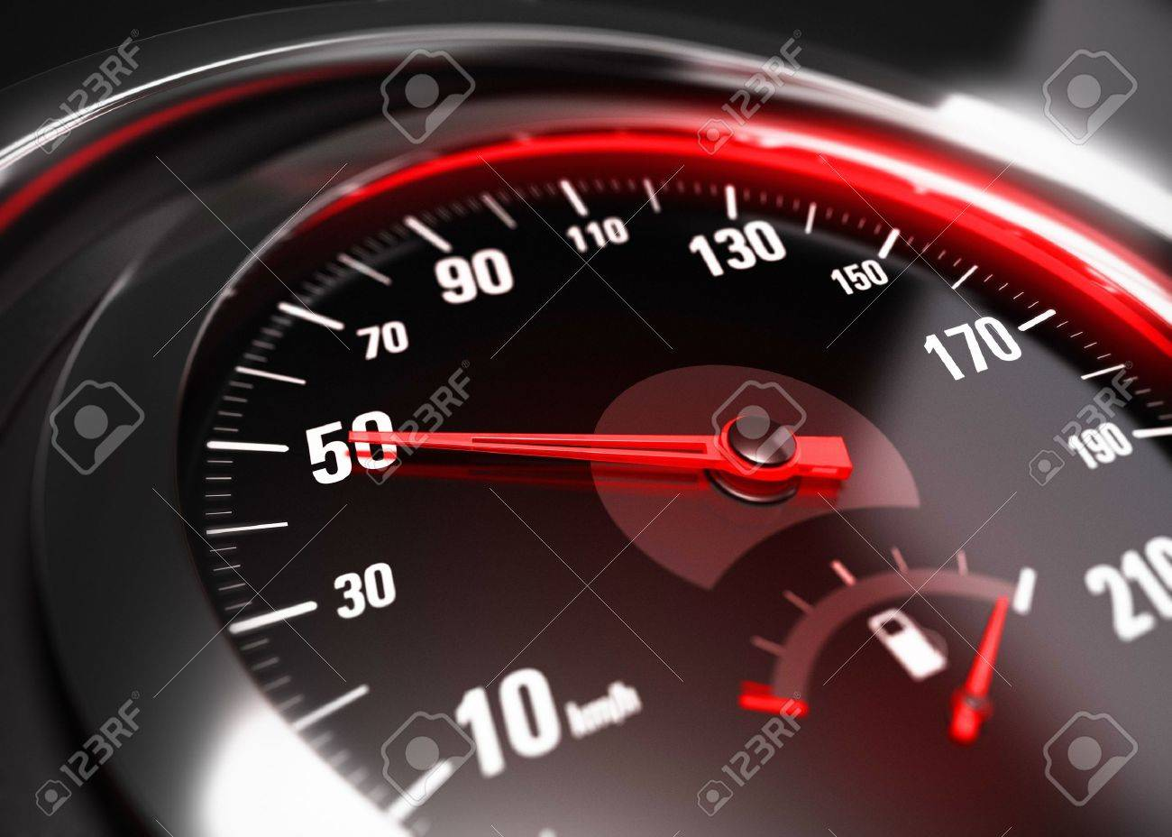 Close up of a car speedometer with the needle pointing 50 Km h, blur effect, conceptual image for safe driving concept Stock Photo - 21398020
