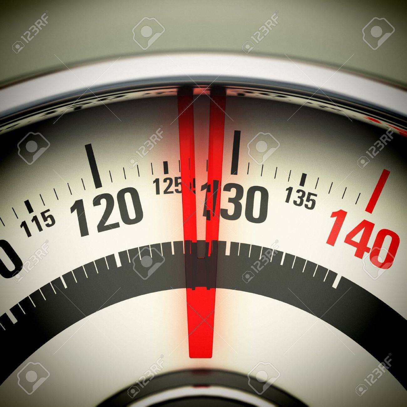 Bathroom scale view from top with the needle pointing 130 Kg Stock Photo - 21927130