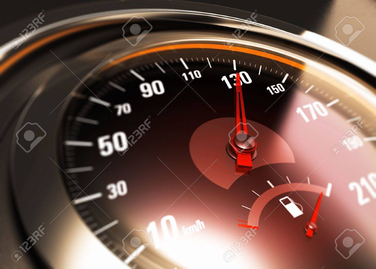 Close up of a car speedometer with the needle pointing 130 Km/h Stock Photo - 21927151