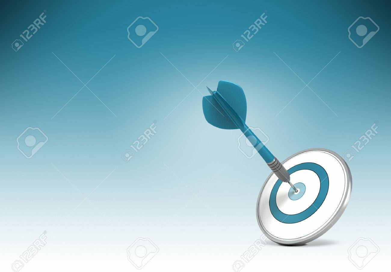 one dart hitting the center of a target over gradiant background concept illustration of setting business goals or objectives and achieve it